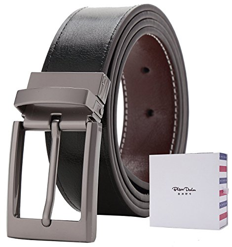 BISON DENIM Mens Reversible Leather Belt Two Sided Dress Belt Casual Buckle Belt (Denim Leather Belt)
