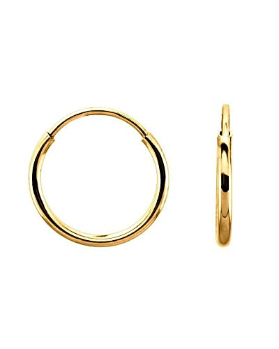 98408c53d3e75 Continuous Endless Round Circle 14k Yellow Gold Hoop Earrings 12mm