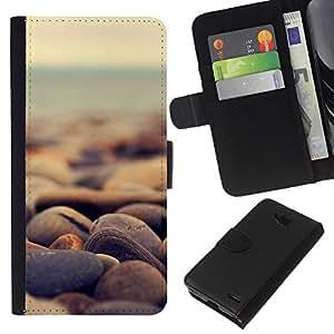 LECELL--Cuero de la tarjeta la carpeta del tirón Smartphone Slots Protección Holder For LG OPTIMUS L90 -- Piedras de la playa --