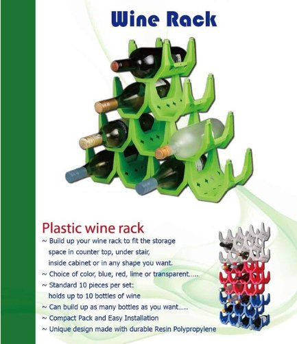 Wine Rack - (Transparent White) Up to 10 Bottles use as many as needed.