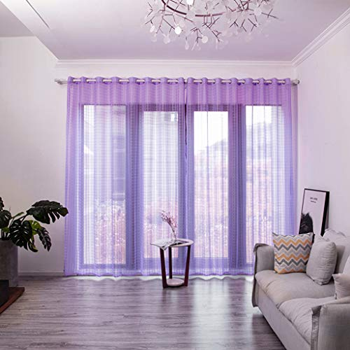 m·kvfa Leaves Sheer Curtain Tulle Window Treatment Voile Drape Valance 1 Panel Fabric Home Window Curtain Wedding Party Garden Bedroom Outdoor Indoor Wall Decorations (Purple) from *m·kvfa* Curtains