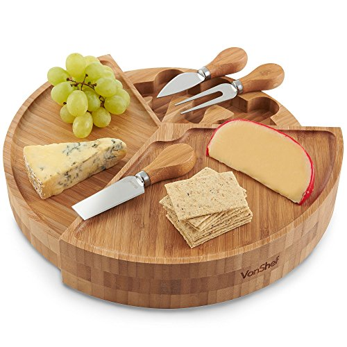 VonShef 3 Layer Tiered Cheese Board Server Plate and 3 Piece Stainless Steel Cheese Knife Serving Utensil Set, Wooden, 13 Inch Diameter, with Gift Box