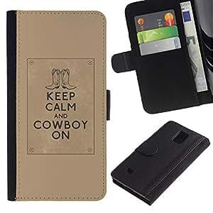 LASTONE PHONE CASE / Lujo Billetera de Cuero Caso del tirón Titular de la tarjeta Flip Carcasa Funda para Samsung Galaxy Note 4 SM-N910 / Calm Quote Brown Text Motivational