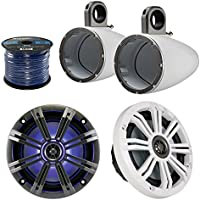 Marine Speaker Package Of 2x Kicker 41KM654LCW 6.5 Inch Marine Boat Yacht Coaxial Speaker Bundle Combo With 2x Kicker 12KMTESW 6 1/2 Wakeboard Tower Enclosures + Enrock 50 Feet 14 Guage Speaker Wire