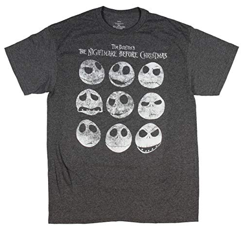 Tim Burton Halloween Town (Tim Burton's The Nightmare Before Christmas Jack Skellington Distressed Faces Men's T-Shirt (Large))