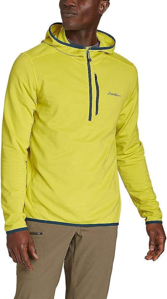 Eddie Bauer Men's Activator Grid Fleece 1/2-Zip Hoodie, Citrus Tall L