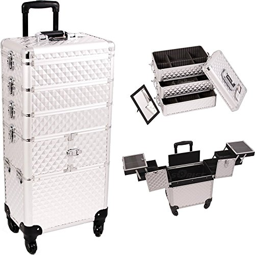 Sunrise Outdoor Travel Silver Diamond Trolley Makeup Case - I3364 by SunRise
