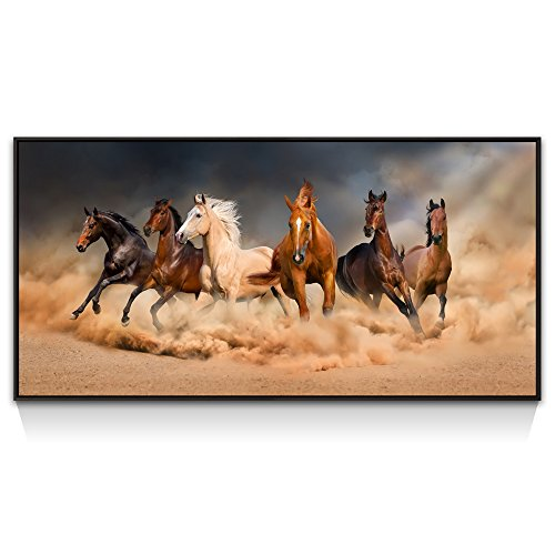 Large Animal Wall Art,Running Horses Picture Canvas Prints,Black Floater Frame,Modern Home Office Decoration Canvas Artwork by Live Art Decor