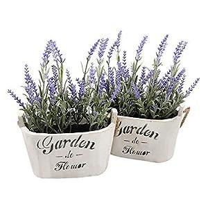 Heart To HeartButterfly Craze Purple Silk Floral Arrangements Faux Lavender Flower Plant Home Office Décor 2 Pc Set – with White Vases
