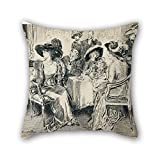 alphadecor oil painting Charles Gibson - Her poise, her unconsciousness, the winning simplicity of her manner were noticed everywhere throw pillow case ,best for divan,study room,girls,coffee house,