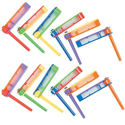 Kicko Ratchet Noise Maker Plastic - 2.5 X 2.5 Inches - Pack of 12 - Assorted Bright Colors Noisemakers - for Kids Party Favors, Bag Stuffers, Fun, Toy, Prize, Pinata Fillers]()