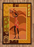 African Woman Area Rug by Ambesonne, Frame with Natural Autumn Elements Native Girl with Vase Exotic Zulu Print, Flat Woven Accent Rug for Living Room Bedroom Dining Room, 5.2 x 7.5 FT, Multicolor