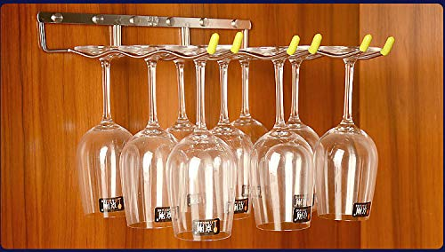 LINEX Hanging Wine Glass Rack 3 Rows 304-Stainless Steel Wave Stemware Holder Metal Wall-Mounted Wine Glass Hanger For Home,Bar Club (Silver 3 Row) (13.2''X13.3''X2'') by Linex