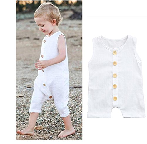 Franterd Baby Solid White Rompers with Big Button Kid Sleeveless Playsuit Jumpsuits One-piece Pants Cotton Clothing – DiZiSports Store