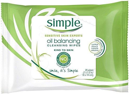 Simple Sensitive Skin Experts Oil Balancing Cleansing Wipes 25 ea (8 Pack)