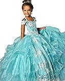 Leho Girls' Off Shoulder Appliques Crystals Pageant Dresses 10 US Powder Blue