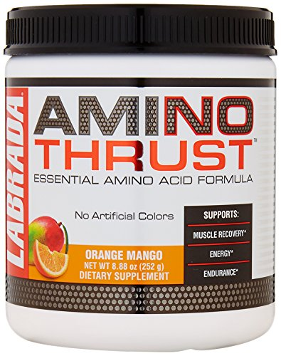 LABRADA Amino Thrust - BCAA Energy Powder with Green Tea Extract for Lean Muscle Growth & Fat Loss, Orange Mango, 30 Serving