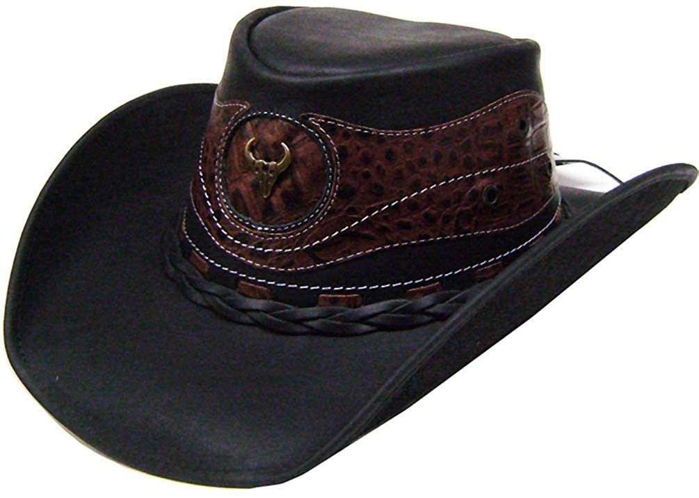 Modestone Unisex Leather Cowboy Hat Crocodile Skin Pattern Applique Black VA1499