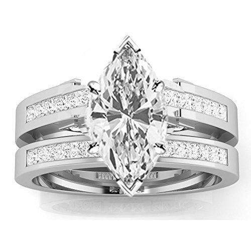 1.45 Ctw 14K White Gold GIA Certified Marquise Cut Channel Set Princess Cut Bridal Set Diamond Engagement Ring Wedding Band, 0.75 Ct D-E VS1-VS2 Center (Marquise Vs2 Ring)