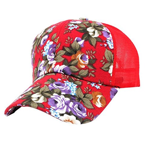 NEEKEY Embroidery Cotton Baseball Cap Boys Girls Snapback Hip Hop Flat Hat(Free Size,Red) ()