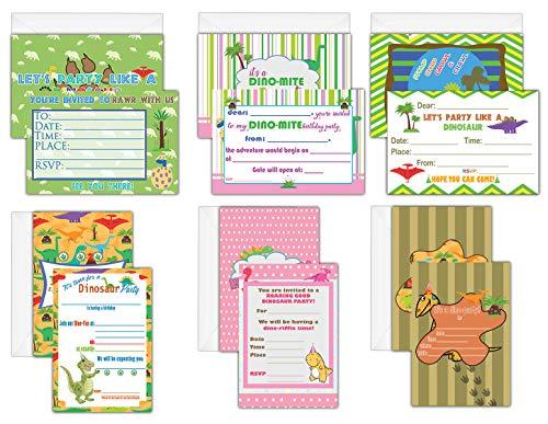 Creanoso Dinosaur Themed Birthday Celebration Invite Cards (30-Pack) - Birthday Party Invitation Bulk Card Set - Premium Quality Cards
