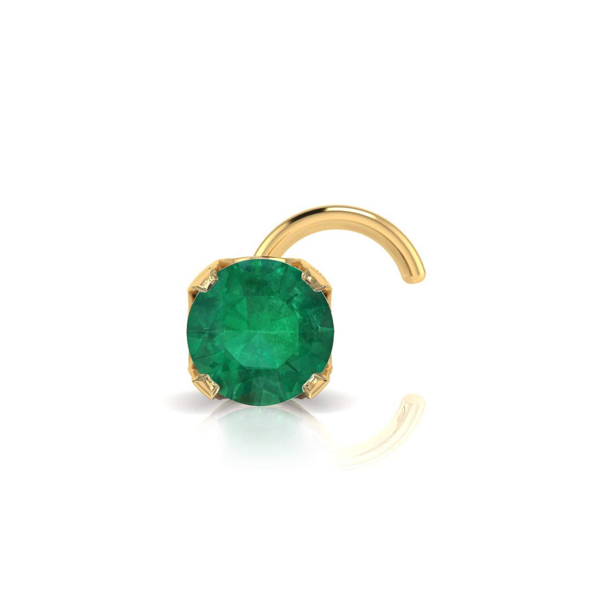 2mm 0.03 Carat Emerald Stud Nose Ring In 14K Yellow Gold by Sparkle Bargains