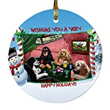 Home of Cocker Spaniel 4 Dogs Playing Poker Photo Round Christmas Ornament