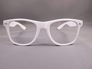 2eb007d8fb9 Amazon.com   White frame Clear lens risky business retro 80s style  sunglasses glasses nerd   Beauty
