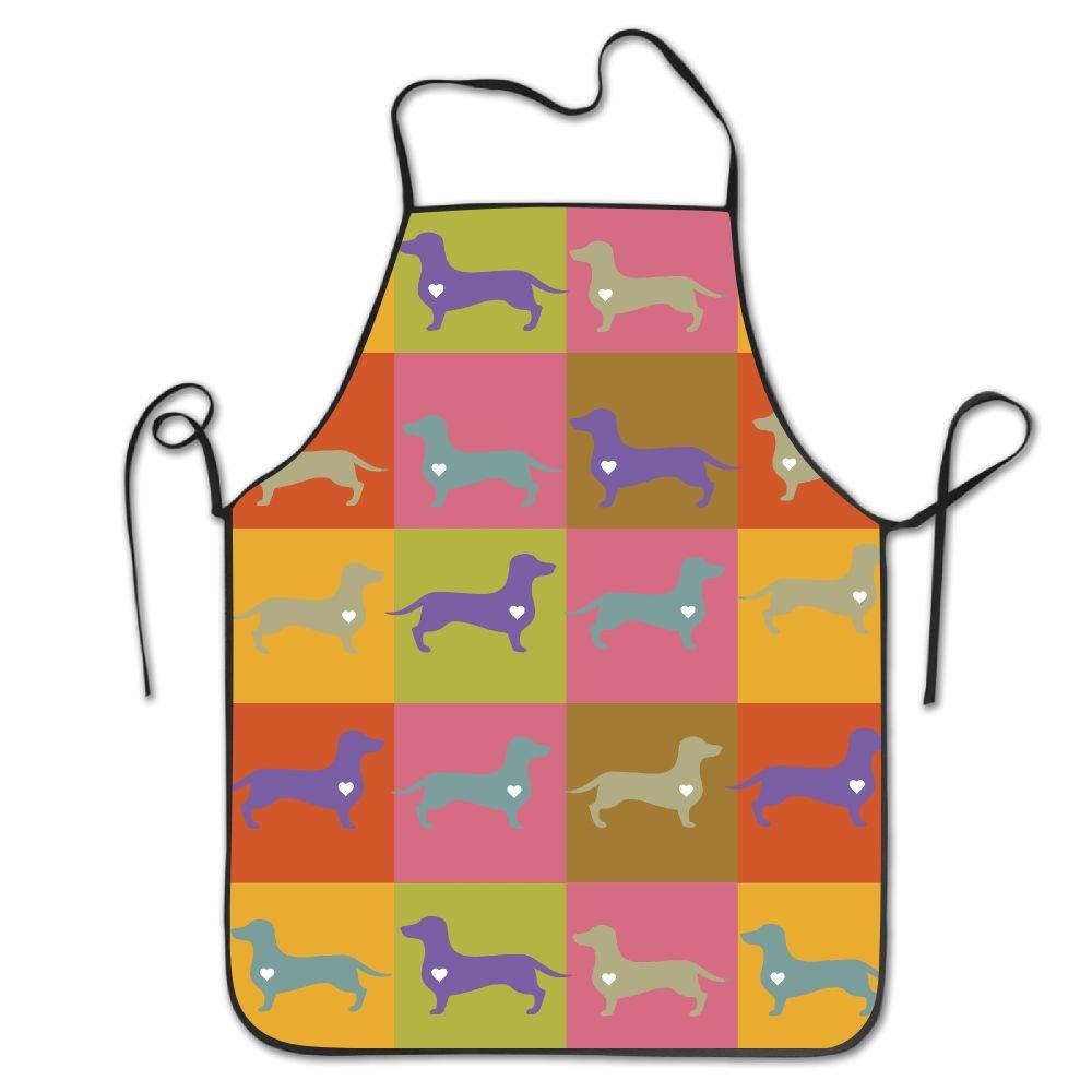 Daschund犬ハートPopアートよだれかけエプロンWorksエプロン、料理キッチンエプロンレディースメンズのシェフ   B07B9VTWBY