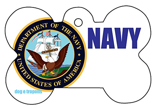 U.S. Military Navy Air Force USMC Army Custom Logo Dog Pet Cat ID Tag Bone Shape Engraved Personalized