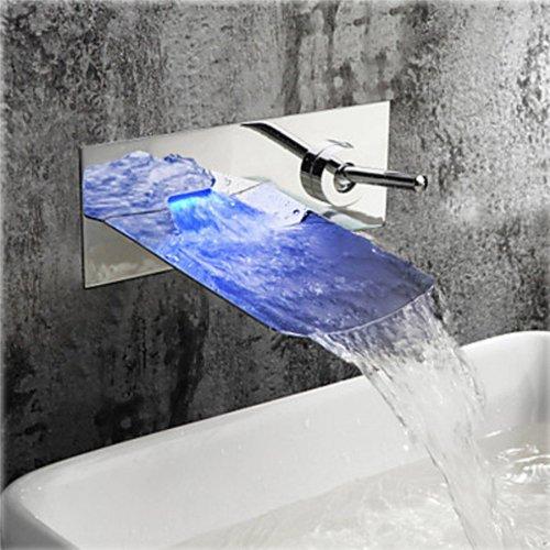 Wovier LED Water Flow Chrome Wall Mount Waterfall Bathroo...