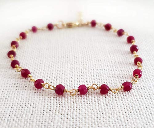 Dyed Ruby Gemstone Layering Bracelet - Wire Wrapped Rosary Chain Bracelet - 14k Gold Filled Jewelry - Gift for -