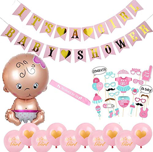 Its A Girl Baby Shower Banner Paper Pom and Honeycomb Balls Rain Curtain for Wedding Decoration Birthday Party Decoration -