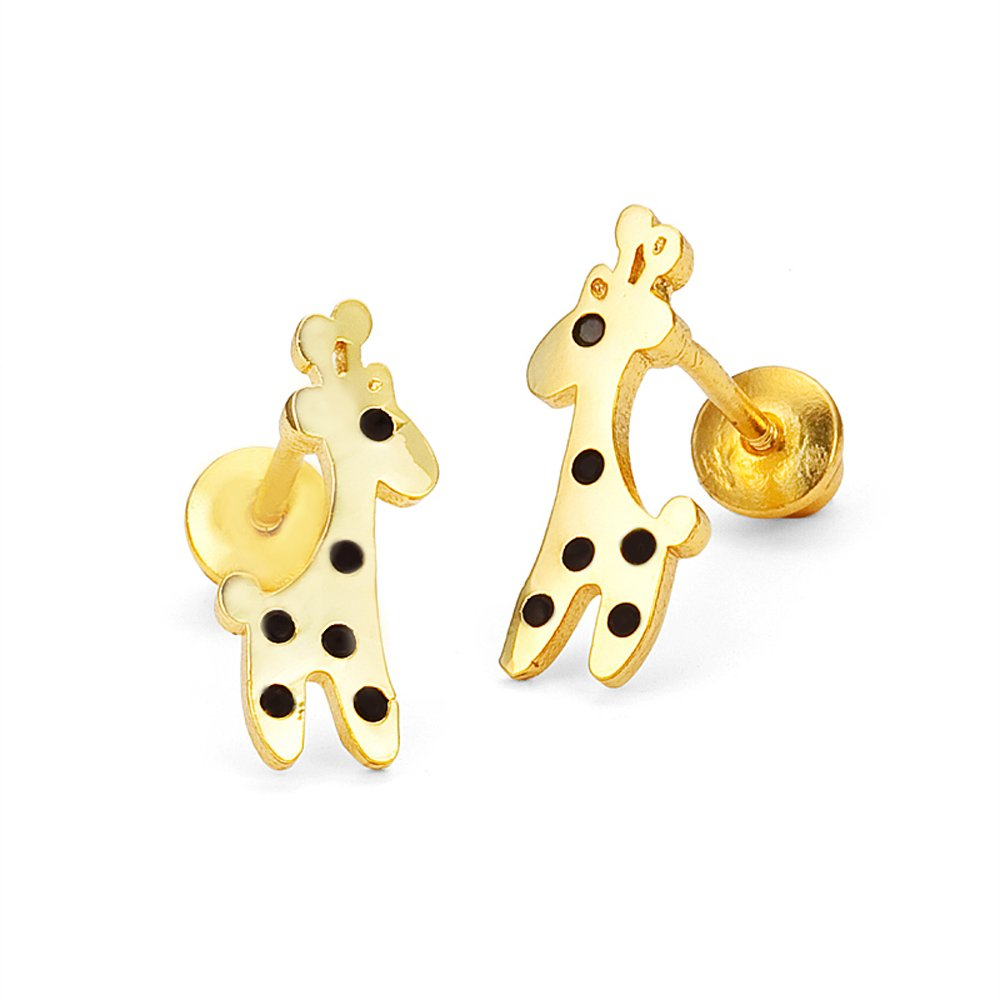 14k Gold Plated Brass Baby Giraffe Screwback Girls Earrings with Sterling Silver Post Lovearing BE2296
