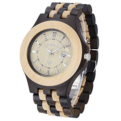 - Bewell Mens Wooden Watch, Quartz Movement Date Display Lightweight Luminous Handmade Wood Wristwatches for Men