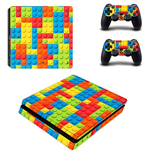 eSeeking Whole Body Vinyl Skin Decal Cover For PS4 Slim Console and 2PCS Controller Skins Stickers Lego