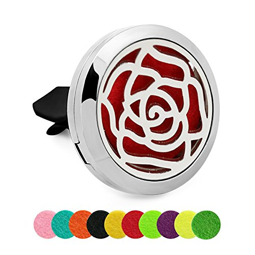 (Silver Essential Oil Car Locket - YouMiYa Rose Shape Air Freshener Clip Perfume Aromatherapy Essential Oil Diffuser Perfume Car Locket Alloy Best Fashionable Gifts Choose Good For)