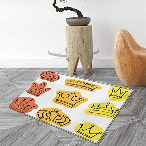 King Door Mats for Home Sketchy Watercolor Seemed Print Tiaras Crowns Coronet Majestic Symbols Bath Mat Bathroom Mat with Non Slip 3'x4' Orange Yellow and Salmon ()