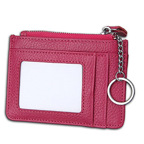 Slim RFID Blocking Card Wallet,Gazigo Minimalist Leather Credit Cards Holder with ID Window and Keychain (Slim RFID Blocking Card Wallet Rose, ()