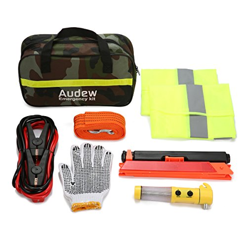 AUDEW Car Emergency Kit Roadside Assistance Kit Car First Aid Tool Safety Kit Contains Jumper Cables, Tow Rope, Reflective Triangle, Safety Vest (Highway Emergency Set)