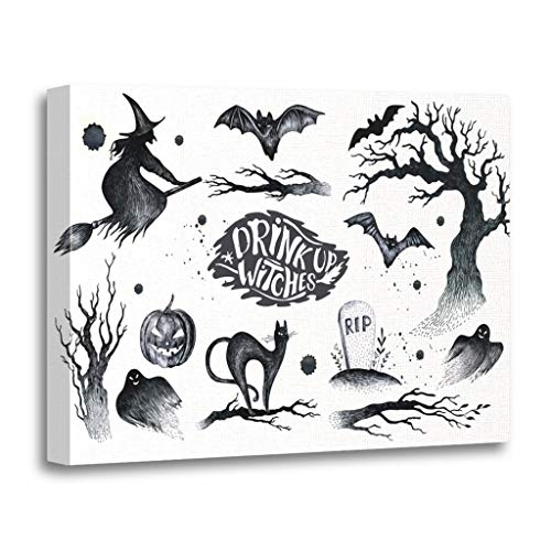 Emvency Painting Canvas Print Wooden Frame Artwork Halloween Black White Graphic Drawn Symbols Pumpkin Broom Bat Witches Horror Decorative 16x20 Inches Wall Art for Home Decor