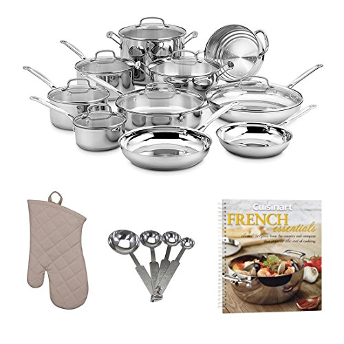Cuisinart 17-Piece Chef's Classic Cookware Set w/ Cookbook & Accessory Bundle