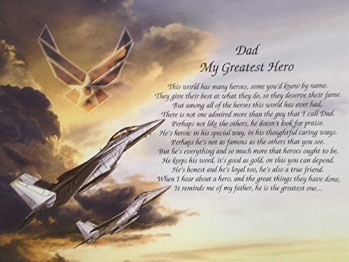 Air Force Gift for Dad My Greatest Hero Sentimental Poem Father's Day Birthday Military