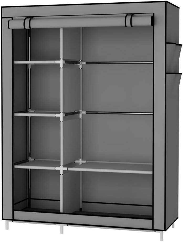 UDEAR Armario Closet Organizador Plegable para Ropa Ropero Resistente al Polvo Guardarropa Gris 105 x 45 x 170 CM