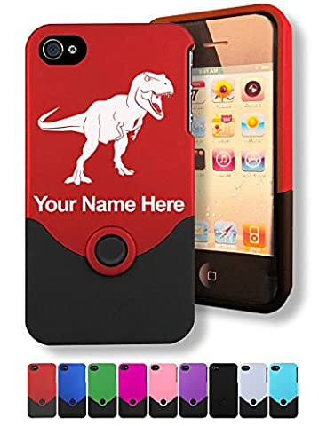 Case for iPhone 4/4s - Tyrannosaurus Rex Dinosaur - Personalized Engraving Included (Personalized Iphone 4s Phone Case)