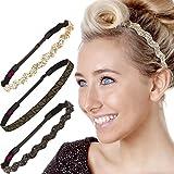 Hipsy 3pk Women's No Slip Headband Adjustable Black & Gold Zigzag Pack