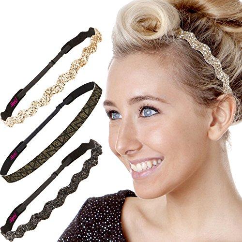 Hipsy Cute Fashion Adjustable No Slip Hairband Headbands for Women Girls & Teens (Black & Gold Zigzag 3pk)