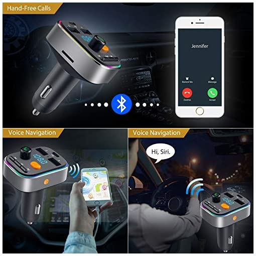 Bluetooth FM Transmitter,HOLALEI Bluetooth Car Adaptor Deep Bass,Bluetooth Transmitter Handsfree Kit with LED Car… Amazon choices [tag]