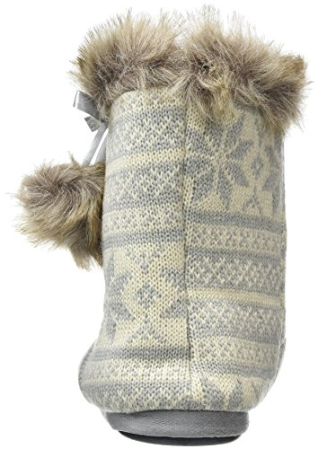 Grey Faux With Cosy Fur Ladies Lined Fairisle Knitted Pompoms Trim amp; Bootie Slippers 0qWUn7Z