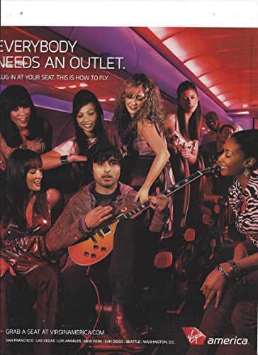 PRINT AD For Virgin America Airline Everybody Needs An Outlet